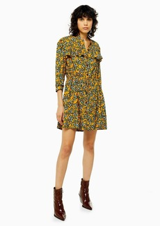 Topshop Idol Agadir Paisley Ruffle Mini Shirt Dress