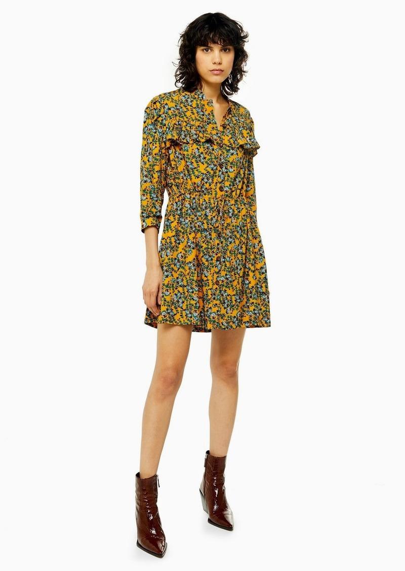 Topshop Idol Agadir Paisley Ruffle Mini Shirt Dress