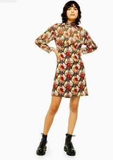 Topshop Idol Empire Line Mini Dress With Lily Print