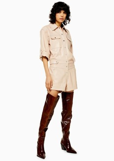 Topshop Idol Leather Popper Playsuit