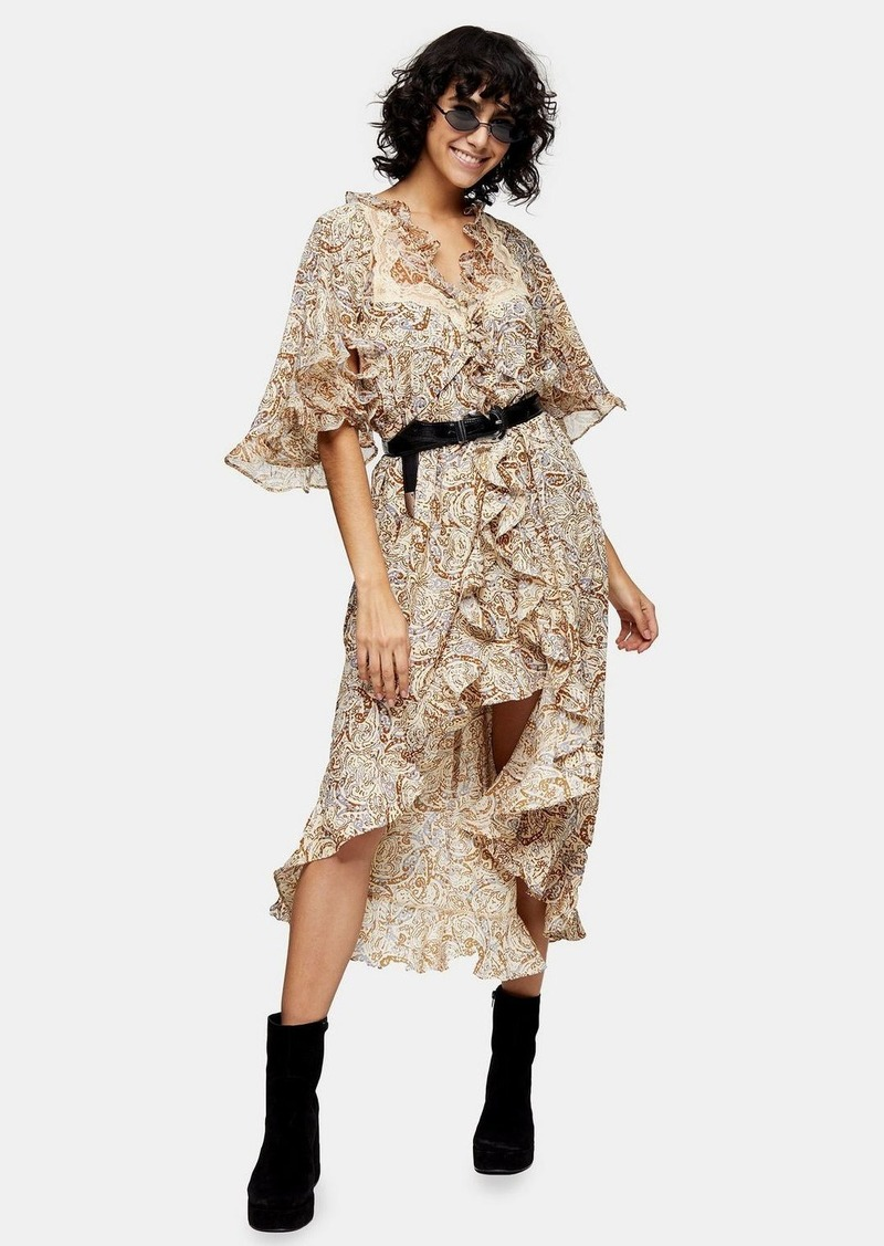 Topshop Idol Printed Lace Insert Shirt Dress