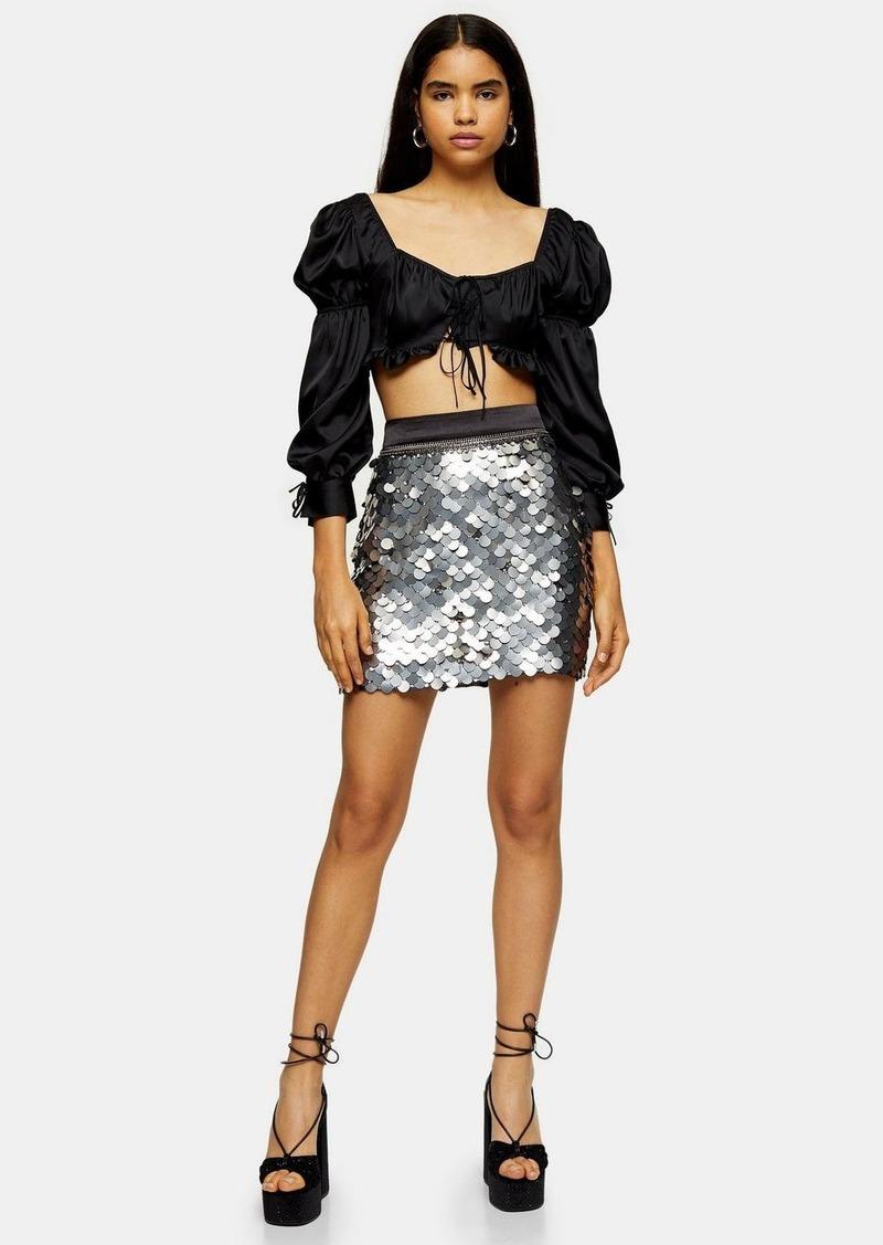 Topshop Idol Silver Sequin Disc Mini Bodycon Skirt