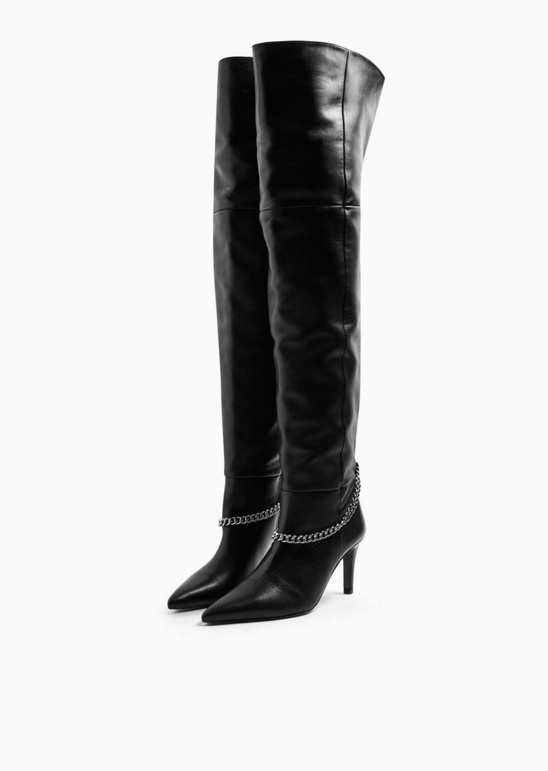 Topshop Idol Talia Black Chain Thigh High Boots