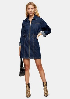 Topshop Indigo Denim Long Sleeve Shirt Dress