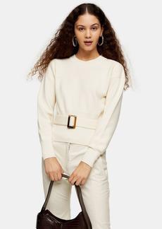 Topshop Ivory Belted Sweatshirt