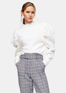 Topshop Ivory Exaggerated Sleeve Knitted Sweatshirt
