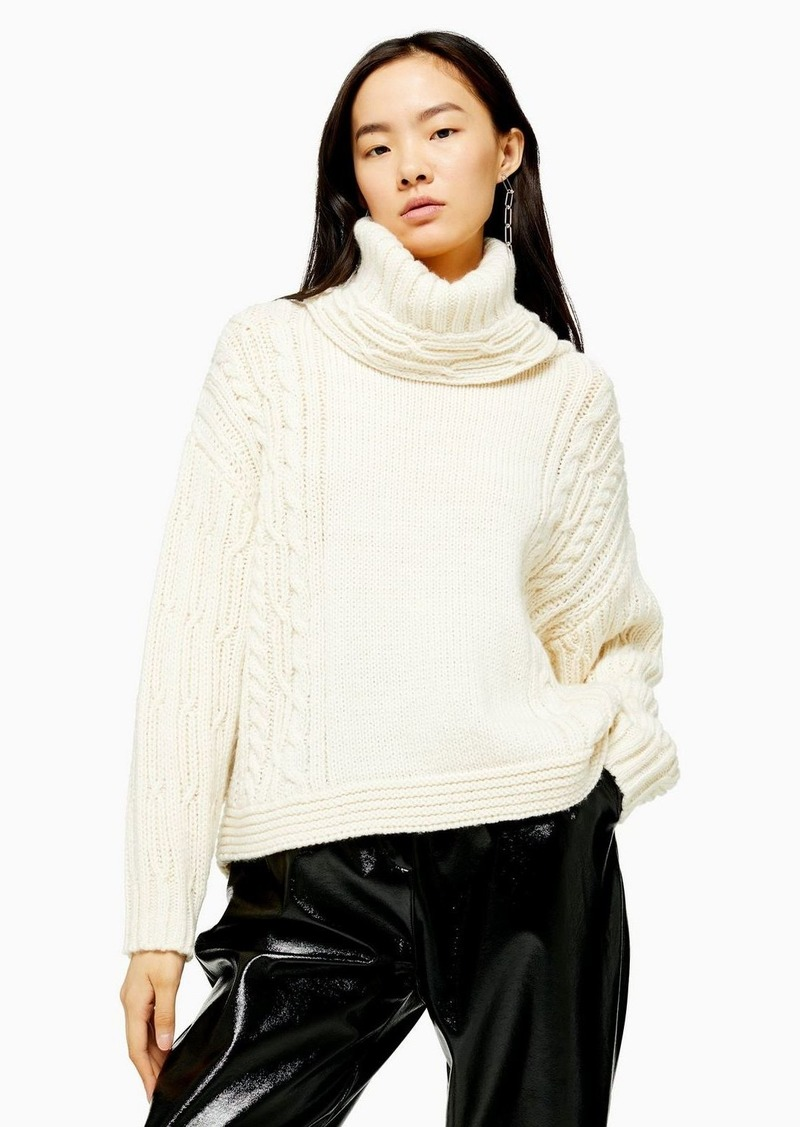 Topshop Ivory Knitted Chunky Cable Turtle Neck Sweater