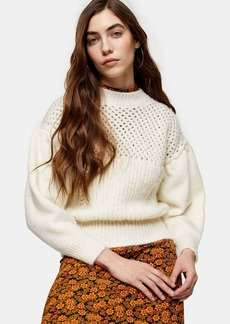 Topshop Ivory Knitted Mid Weight Yoke Sweater