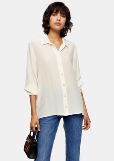 Topshop Ivory Oversized Silk Shirt