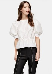 Topshop Ivory Puff Sleeve Blouse