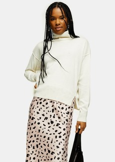 Topshop Ivory Ribbed Back Roll Neck Sweater With Cashmere