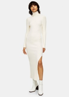Topshop Ivory Roll Neck Sweater Dress