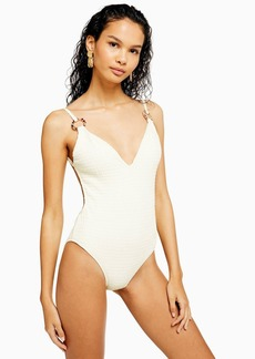 Topshop Ivory Shirred Ring Swimsuit