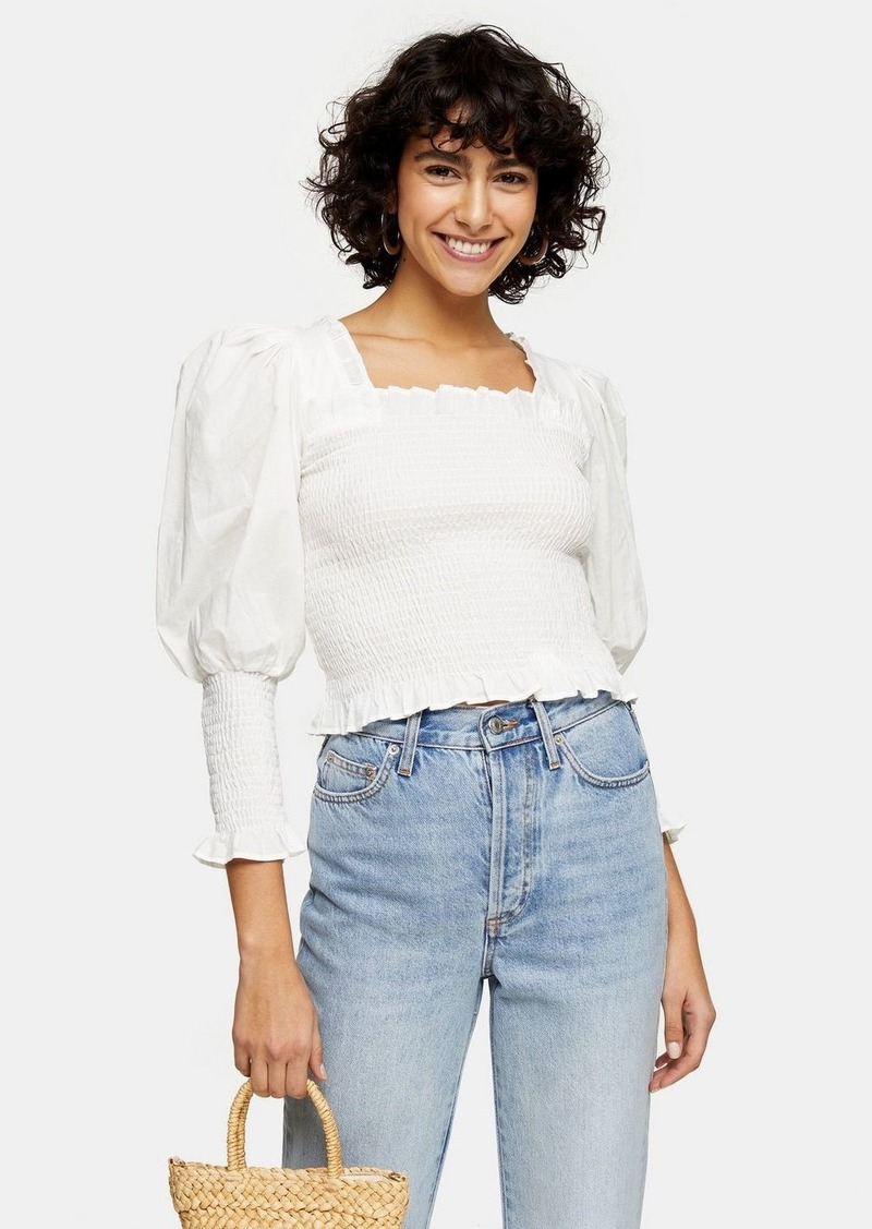 Topshop Ivory Shirred  Sleeve Top