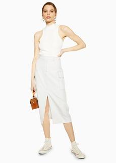 Topshop Ivory Split Utility Midi Skirt