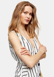 Topshop Ivory Stripe Pinafore Midi Dress