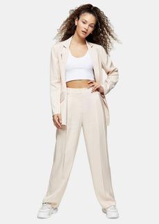 Topshop Natural Jacquard Stripe Pants