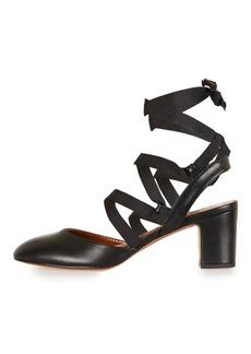 Topshop Jostle Mid Heel Tie Block Heeled Ballet Pumps