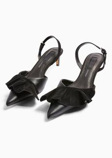 Topshop Jules Black Frill Slingback Heels