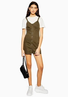 Topshop Khaki Button Denim Bodycon Dress