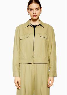 Khaki Cropped Jacket By Topshop Boutique