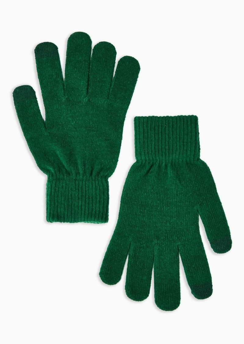 Topshop Khaki Knitted Touchscreen Gloves