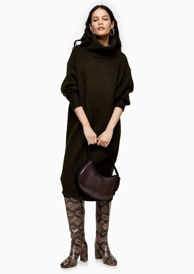 Topshop Khaki Oversized Cocoon Knitted Dress