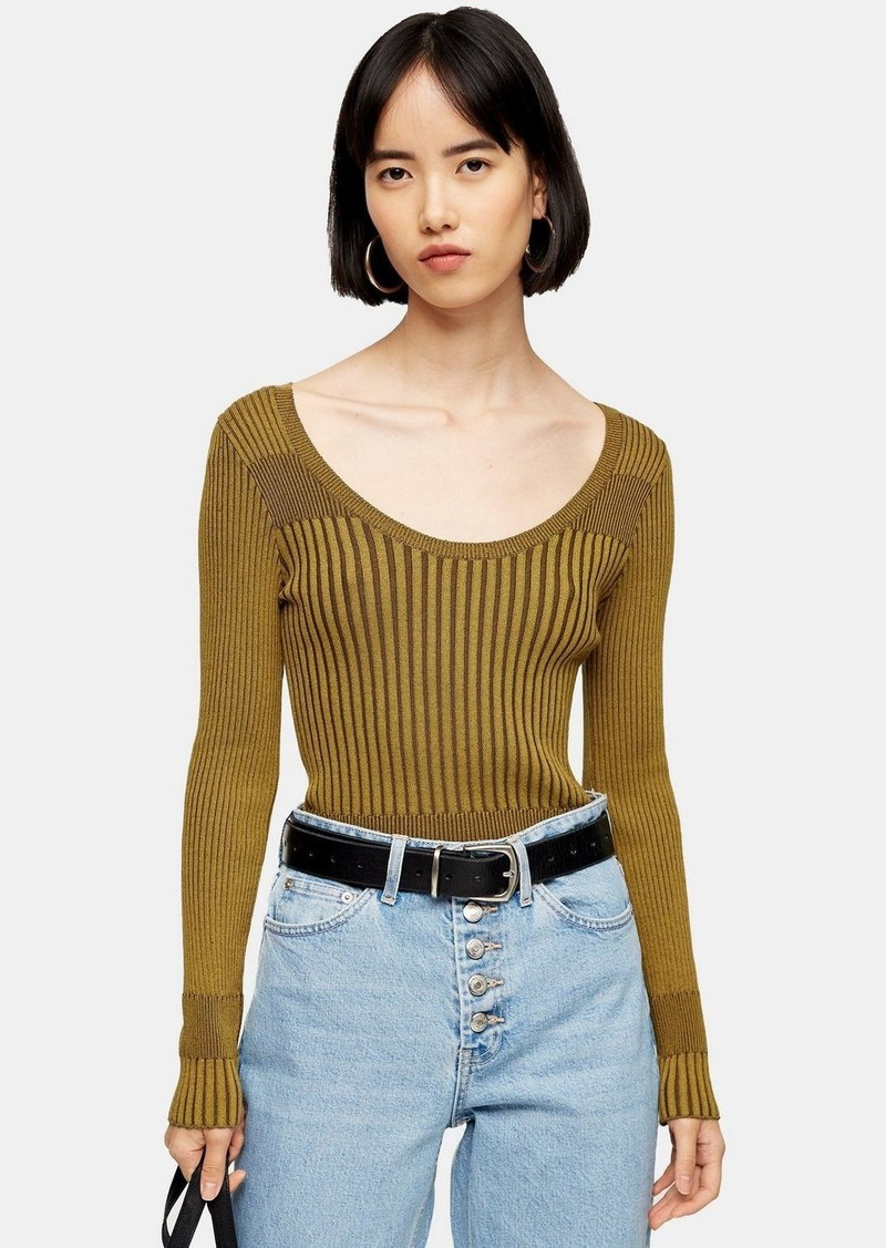 Topshop Khaki Wide Scoop Knitted Top