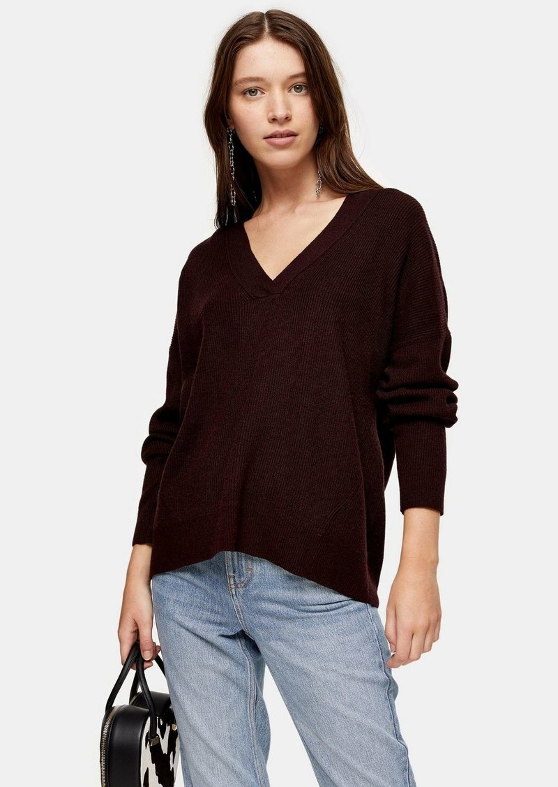 Topshop Knitted Berry V Neck Sweater With Wool