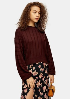 Topshop Knitted Boxy Wide Ribbed Crew Neck Jumper