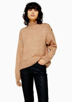 Topshop Camel Knitted Button Shoulder Sweater