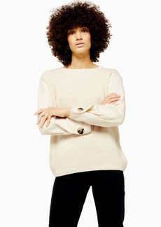 Topshop Knitted Button Sleeve Jumper