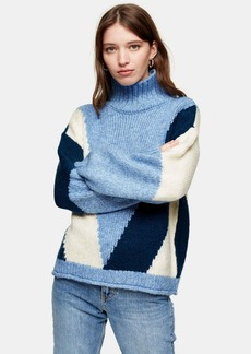 Topshop Knitted Colour Block Jumper