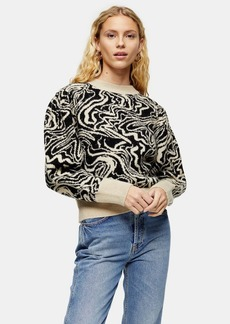 Topshop Knitted Painted Squiggle Jumper