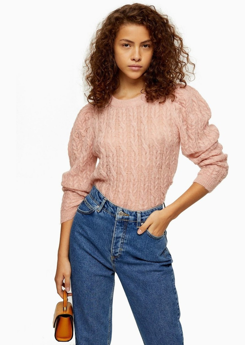 Topshop Knitted Pink Gauzy Cable Crew Neck Sweater