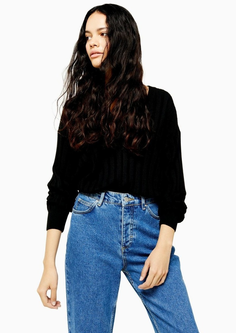 Topshop Knitted Ribbed V Neck Sweater