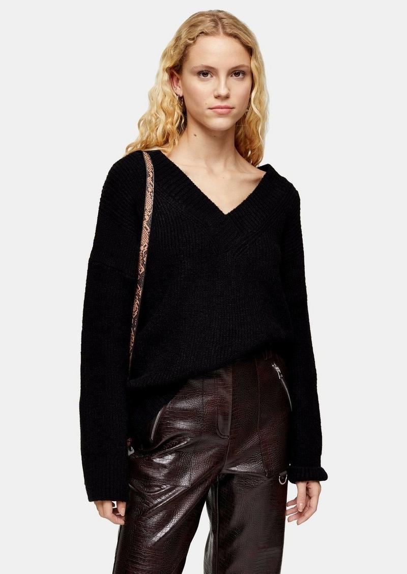 Topshop Black Knitted Super Soft V Neck Jumper