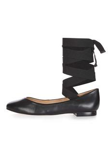 Topshop Kute Ballet Ankle Tie Pumps