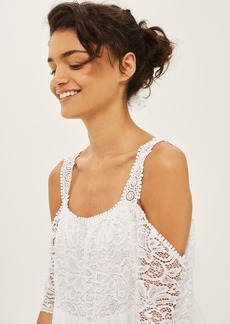 Lace Cold Shoulder Smock Dress