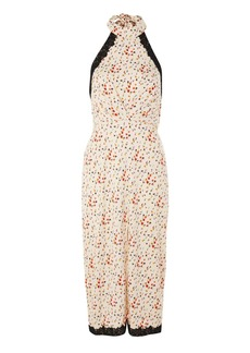 Topshop Lace Ditsy Halter Neck Dress