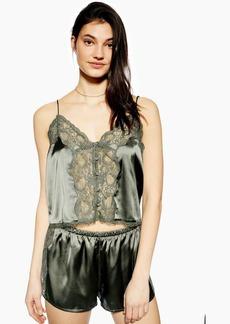 Topshop Lace Khaki Satin Camisole Top