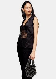 Topshop Black Lace Panel Sleeveless Blouse