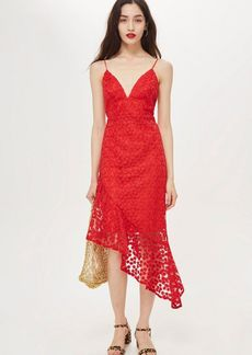 Topshop Lace Plunge Asymmetrical Hem Dress