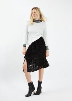 Topshop Lace Ruffle Midi Skirt