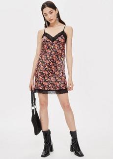 Topshop Lace Trim Sequin Slip Dress