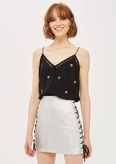 Lace Up Side Pu Skirt