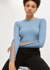 Topshop Lattice Sleeve Ribbed Cropped Top