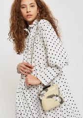 Topshop Leather Bird Embroidered Boxy Clutch