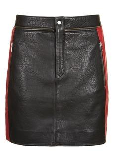 Leather Colourblock Biker Skirt