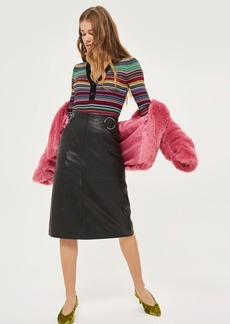Topshop Leather Ring Midi Skirt